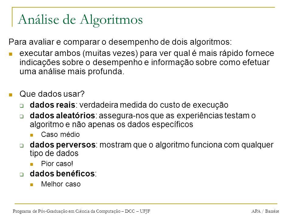 Análise de Algoritmos Para avaliar e comparar o desempenho de dois algoritmos: