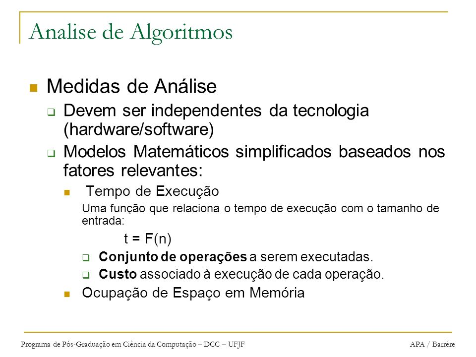 Analise de Algoritmos Medidas de Análise