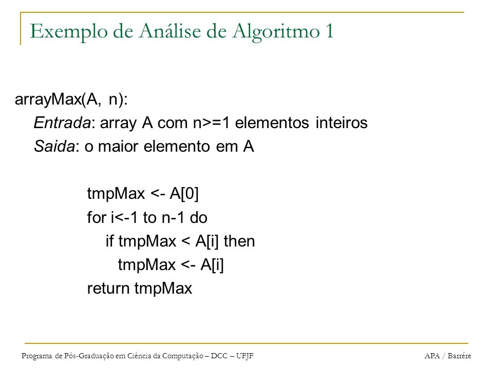 Exemplo de Análise de Algoritmo 1
