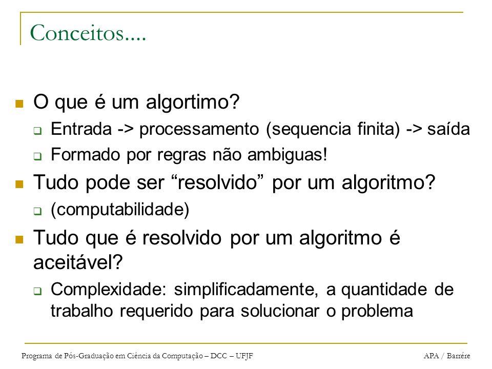 Conceitos.... O que é um algortimo