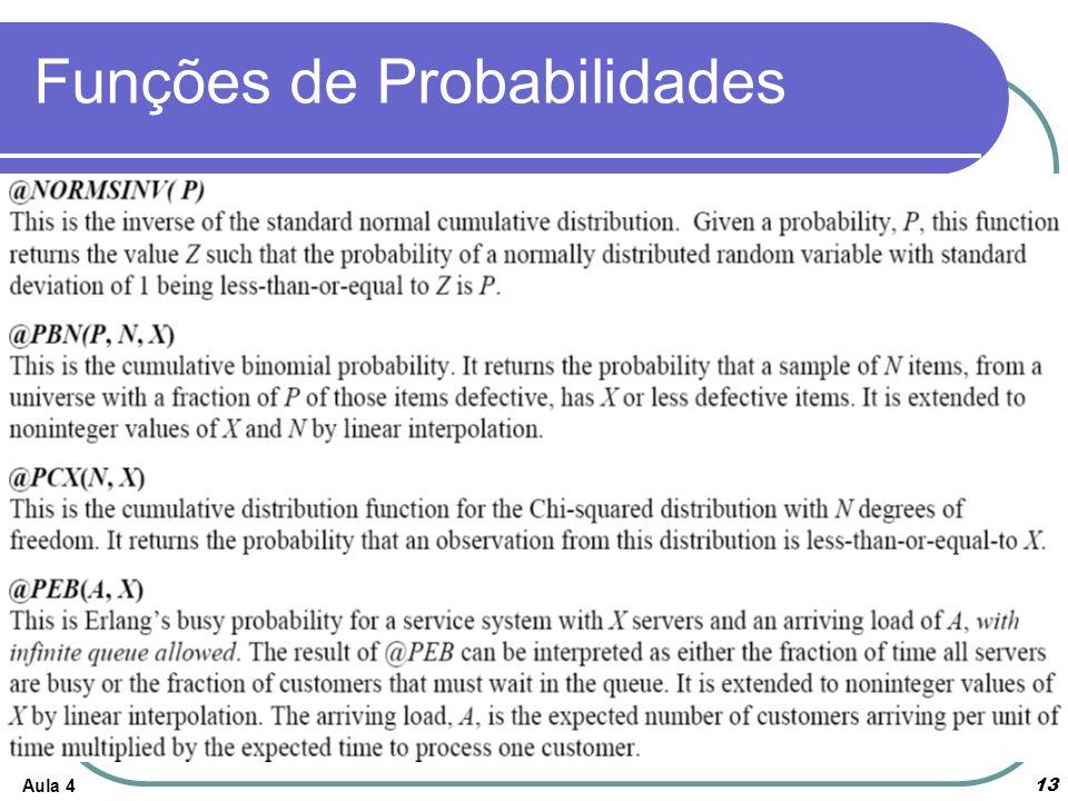 Funções de Probabilidades