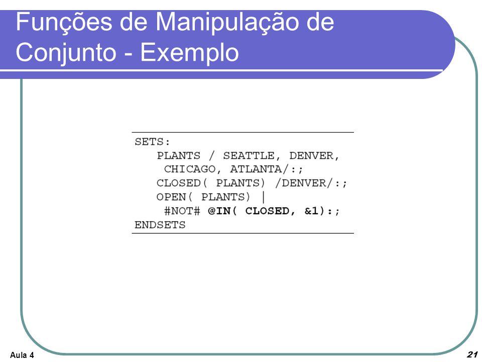 Funções de Manipulação de Conjunto - Exemplo