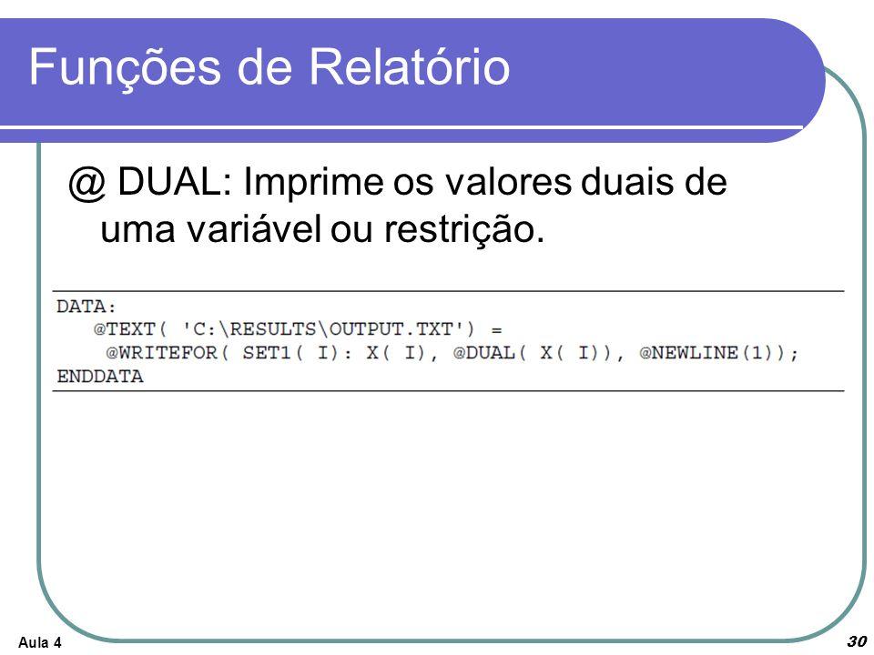 Funções de Relatório @ DUAL: Imprime os valores duais de uma variável ou restrição. Aula 4