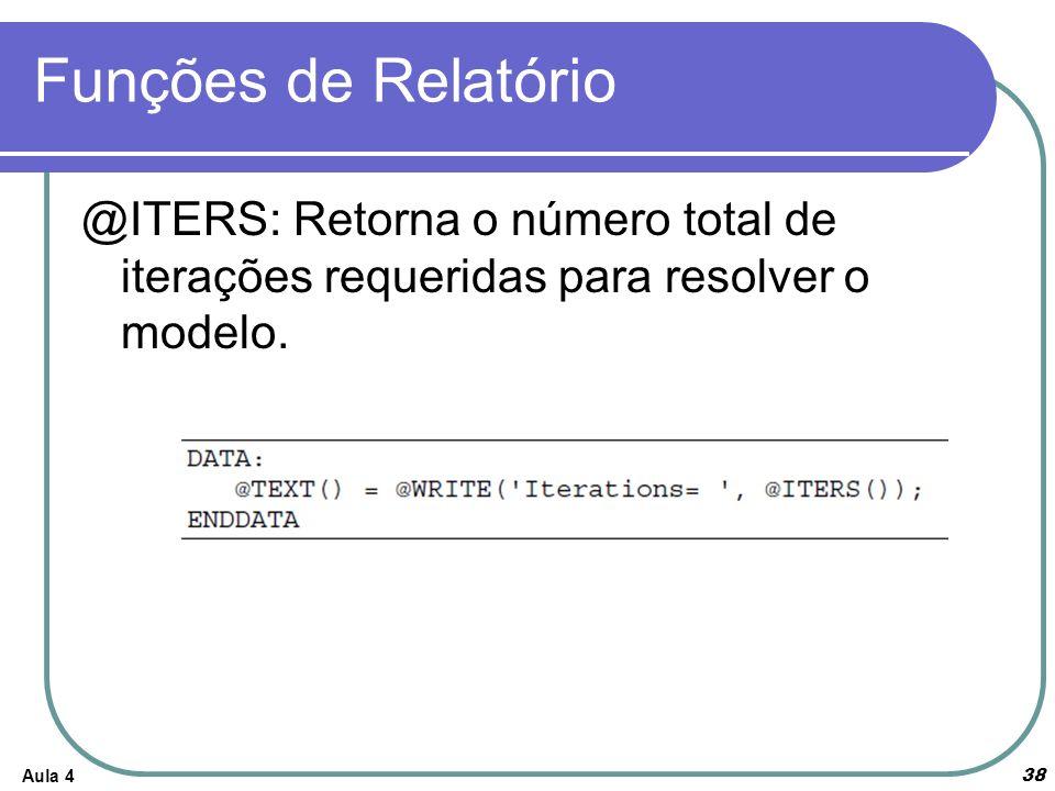 Funções de Relatório @ITERS: Retorna o número total de iterações requeridas para resolver o modelo.