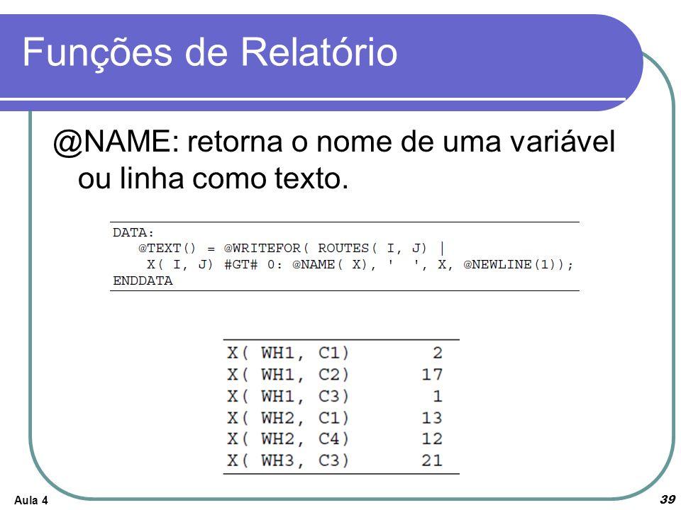 Funções de Relatório @NAME: retorna o nome de uma variável ou linha como texto. Aula 4
