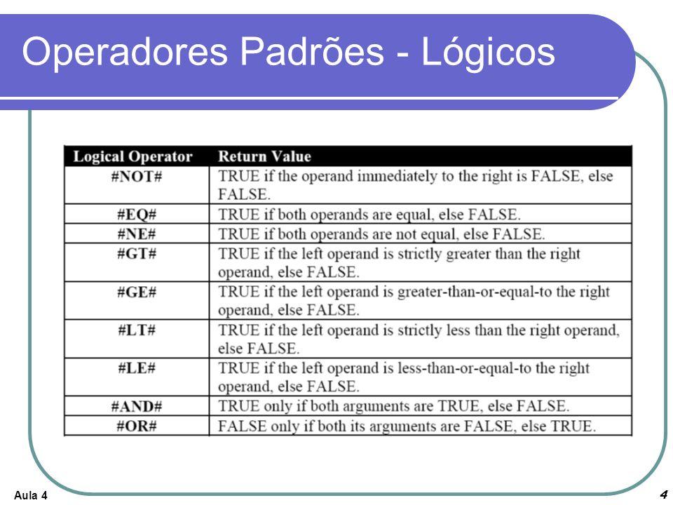 Operadores Padrões - Lógicos