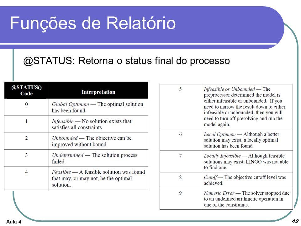 Funções de Relatório @STATUS: Retorna o status final do processo