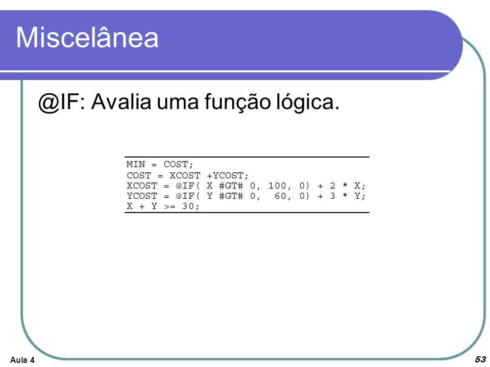 Miscelânea @IF: Avalia uma função lógica. Aula 4