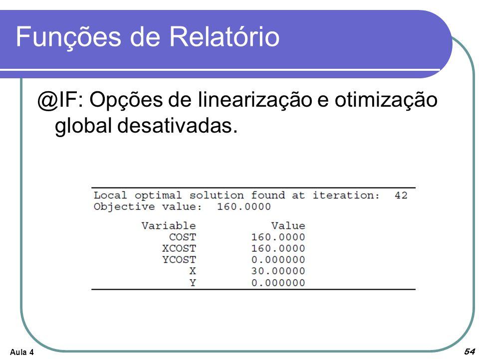 Funções de Relatório @IF: Opções de linearização e otimização global desativadas. Aula 4