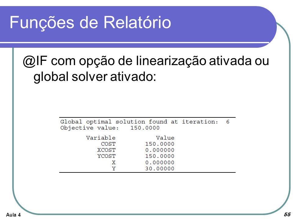Funções de Relatório @IF com opção de linearização ativada ou global solver ativado: Aula 4