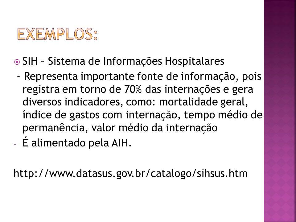 Exemplos: SIH – Sistema de Informações Hospitalares