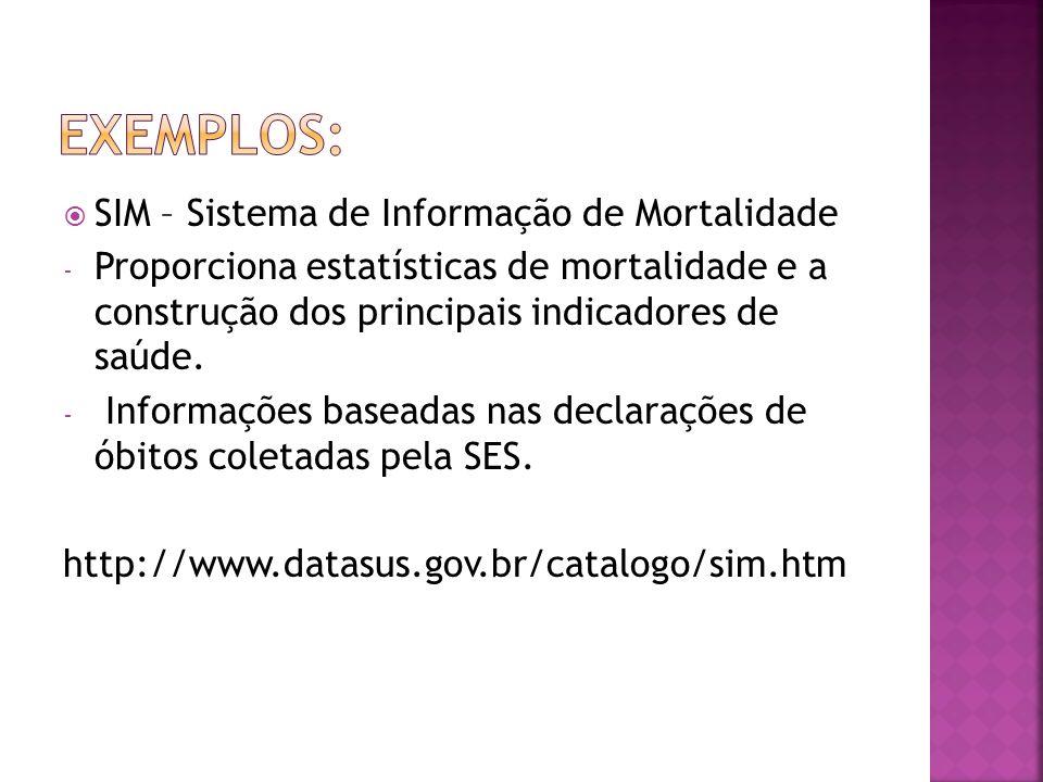 Exemplos: SIM – Sistema de Informação de Mortalidade