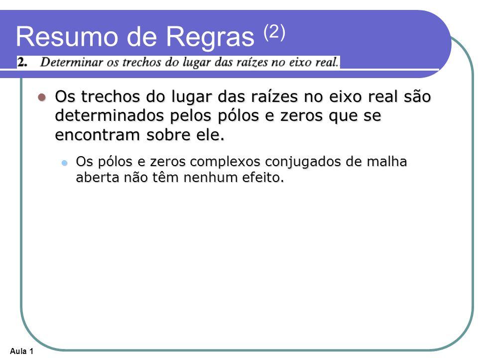 Resumo de Regras (2) Os trechos do lugar das raízes no eixo real são determinados pelos pólos e zeros que se encontram sobre ele.