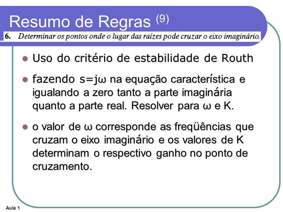 Resumo de Regras (9) Uso do critério de estabilidade de Routh