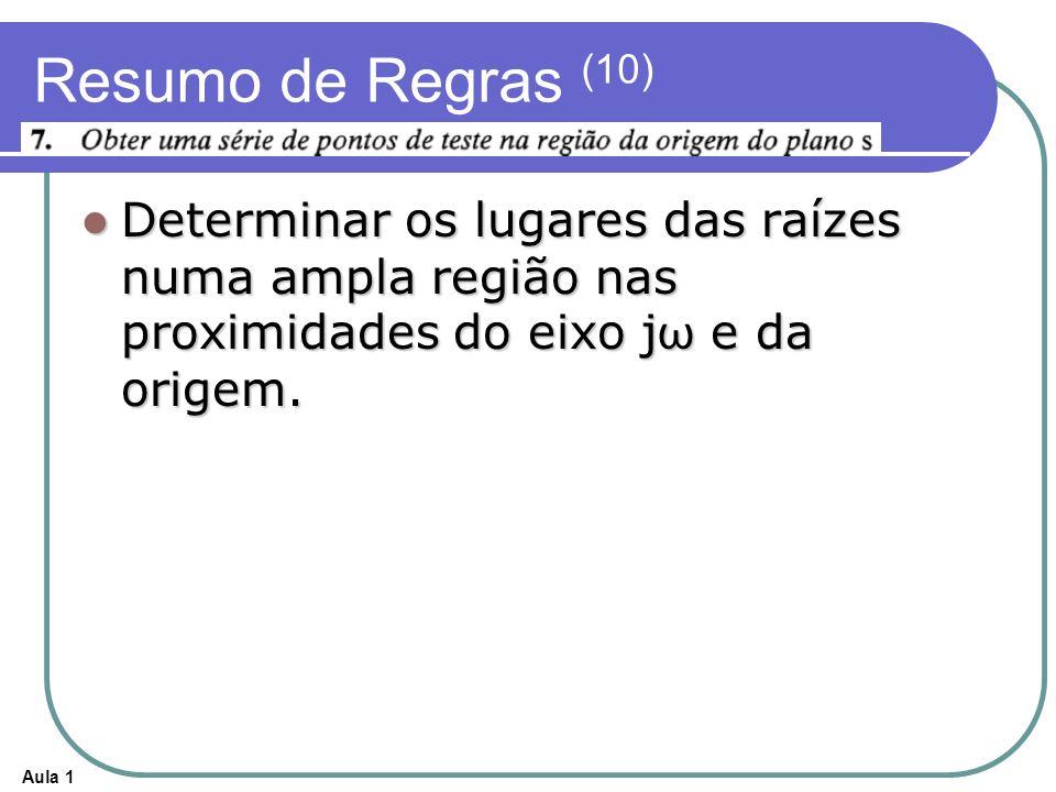 Resumo de Regras (10) Determinar os lugares das raízes numa ampla região nas proximidades do eixo jω e da origem.