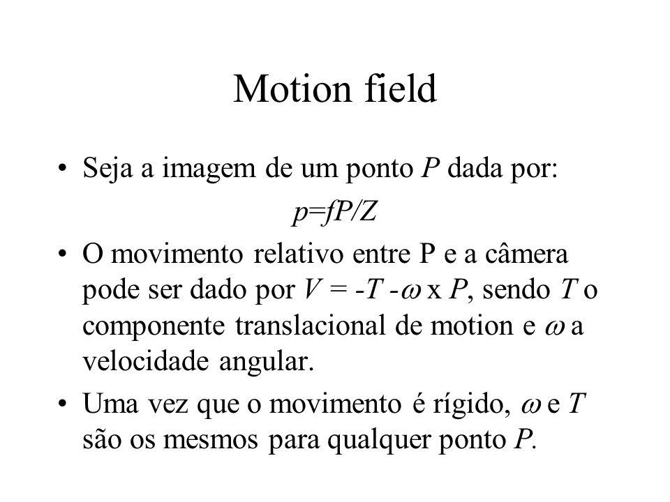 Motion field Seja a imagem de um ponto P dada por: p=fP/Z