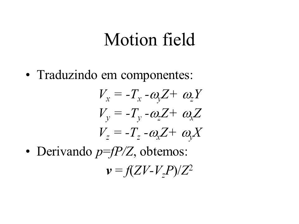 Motion field Traduzindo em componentes: Vx = -Tx -yZ+ zY