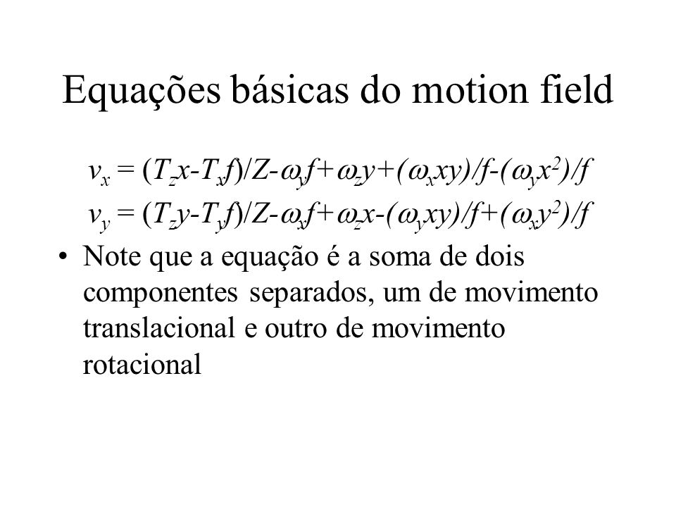 Equações básicas do motion field