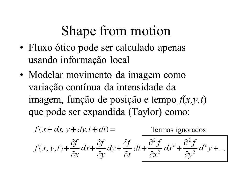 Shape from motion Fluxo ótico pode ser calculado apenas usando informação local.