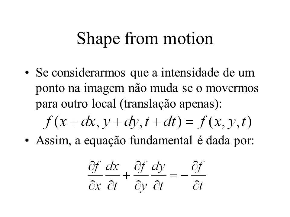 Shape from motion Se considerarmos que a intensidade de um ponto na imagem não muda se o movermos para outro local (translação apenas):