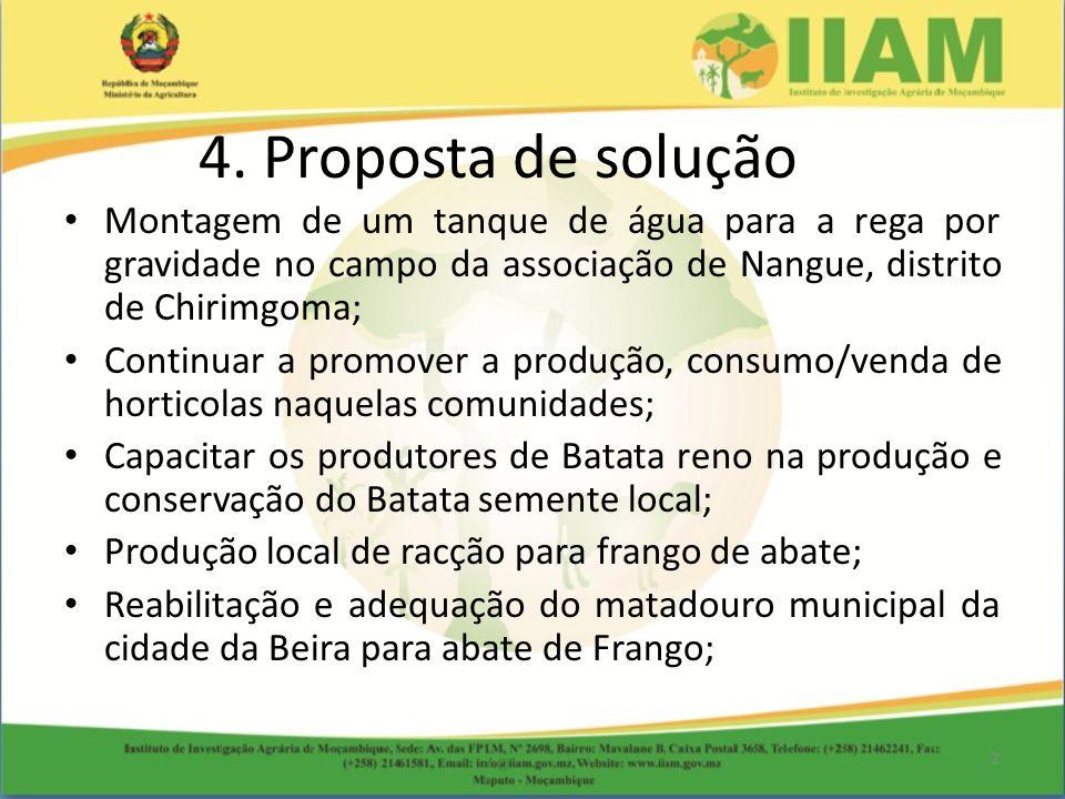 4. Proposta de solução Montagem de um tanque de água para a rega por gravidade no campo da associação de Nangue, distrito de Chirimgoma;