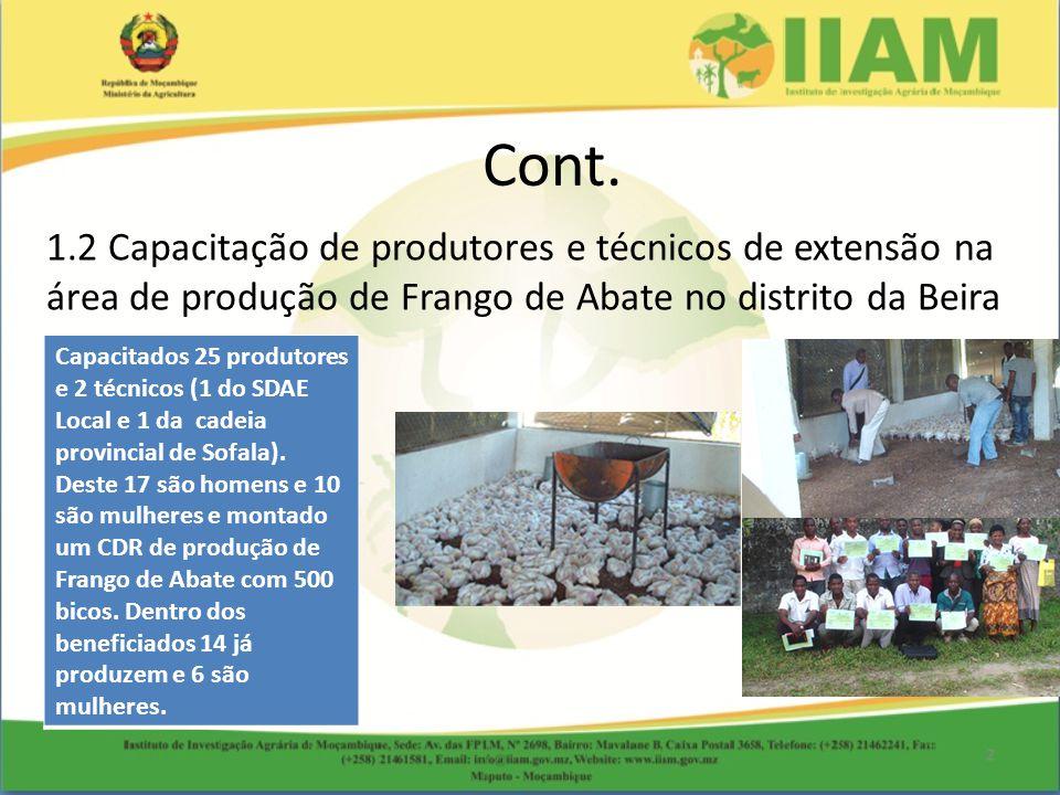 Cont. 1.2 Capacitação de produtores e técnicos de extensão na área de produção de Frango de Abate no distrito da Beira.