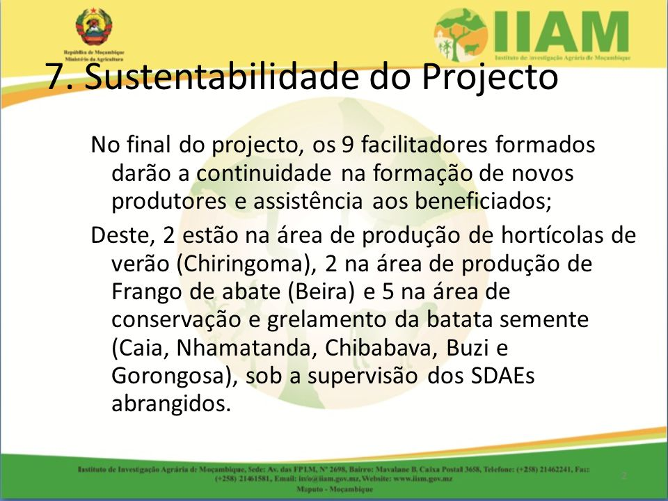 7. Sustentabilidade do Projecto