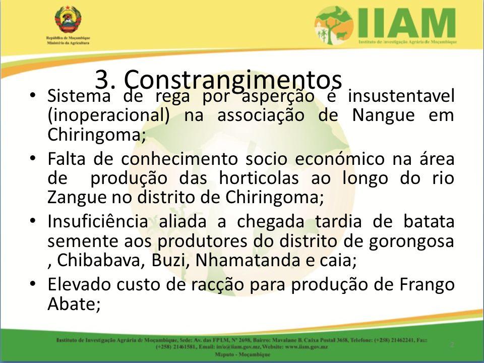 3. Constrangimentos Sistema de rega por asperção é insustentavel (inoperacional) na associação de Nangue em Chiringoma;