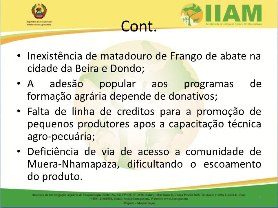 Cont. Inexistência de matadouro de Frango de abate na cidade da Beira e Dondo;