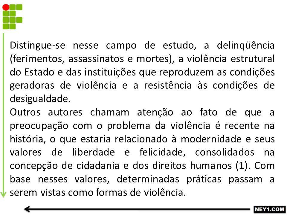 Distingue-se nesse campo de estudo, a delinqüência (ferimentos, assassinatos e mortes), a violência estrutural do Estado e das instituições que reproduzem as condições geradoras de violência e a resistência às condições de desigualdade.