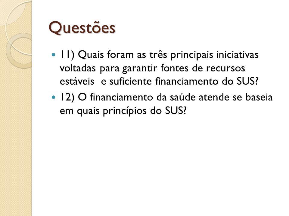 Questões 11) Quais foram as três principais iniciativas voltadas para garantir fontes de recursos estáveis e suficiente financiamento do SUS
