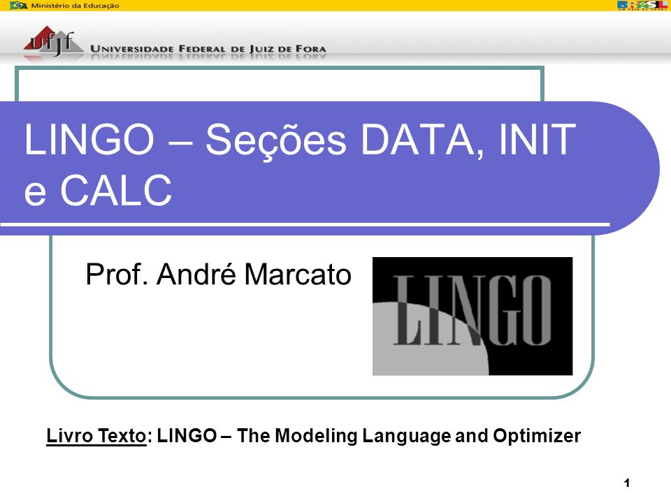 LINGO – Seções DATA, INIT e CALC