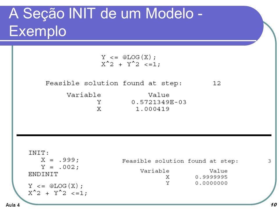 A Seção INIT de um Modelo - Exemplo