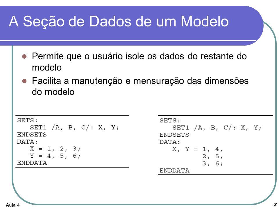 A Seção de Dados de um Modelo