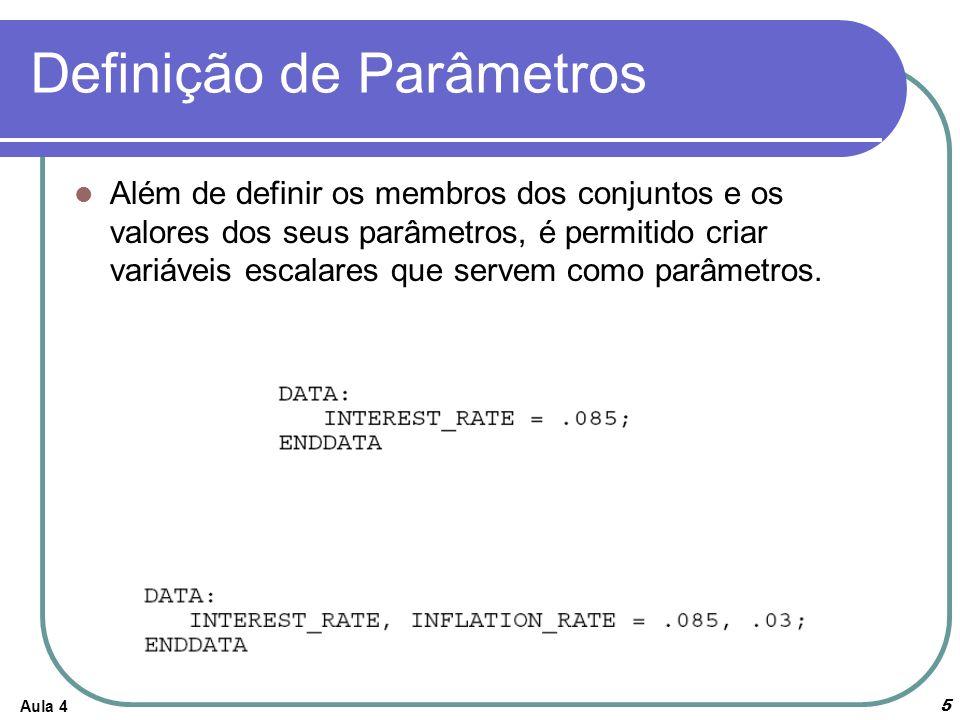 Definição de Parâmetros