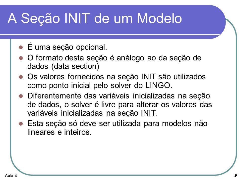 A Seção INIT de um Modelo