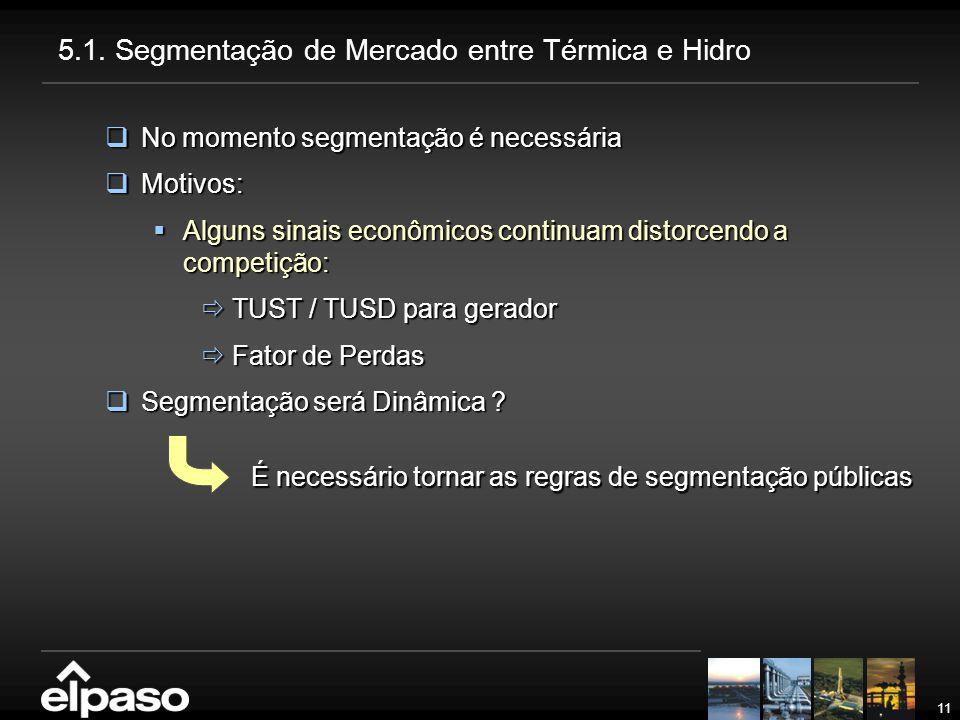 5.1. Segmentação de Mercado entre Térmica e Hidro