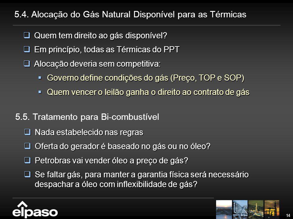 5.4. Alocação do Gás Natural Disponível para as Térmicas