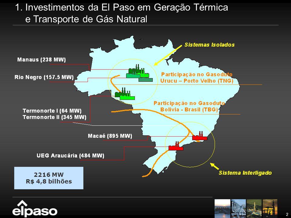 1. Investimentos da El Paso em Geração Térmica e Transporte de Gás Natural