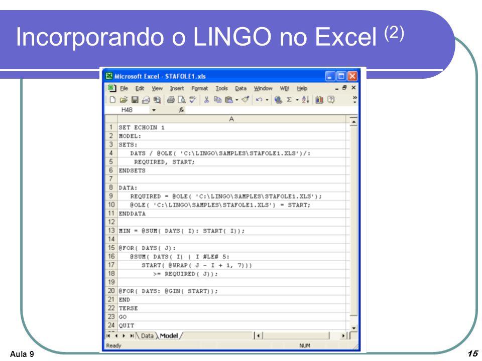 Incorporando o LINGO no Excel (2)