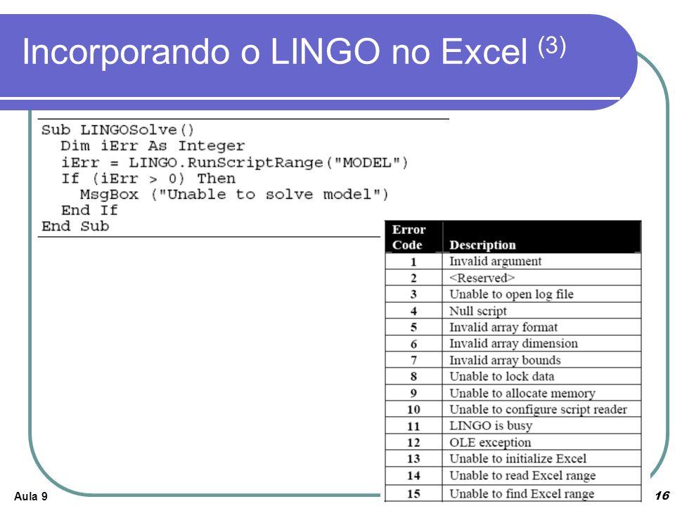 Incorporando o LINGO no Excel (3)