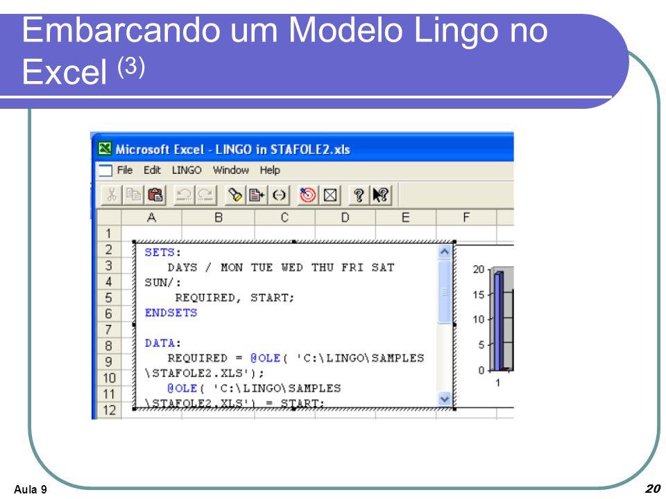 Embarcando um Modelo Lingo no Excel (3)