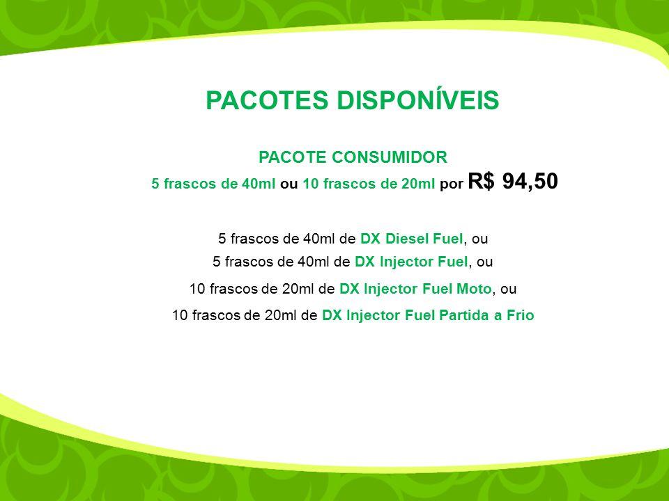 5 frascos de 40ml ou 10 frascos de 20ml por R$ 94,50