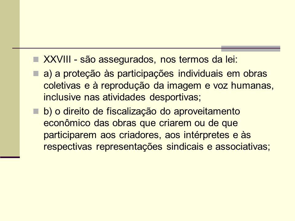 XXVIII - são assegurados, nos termos da lei: