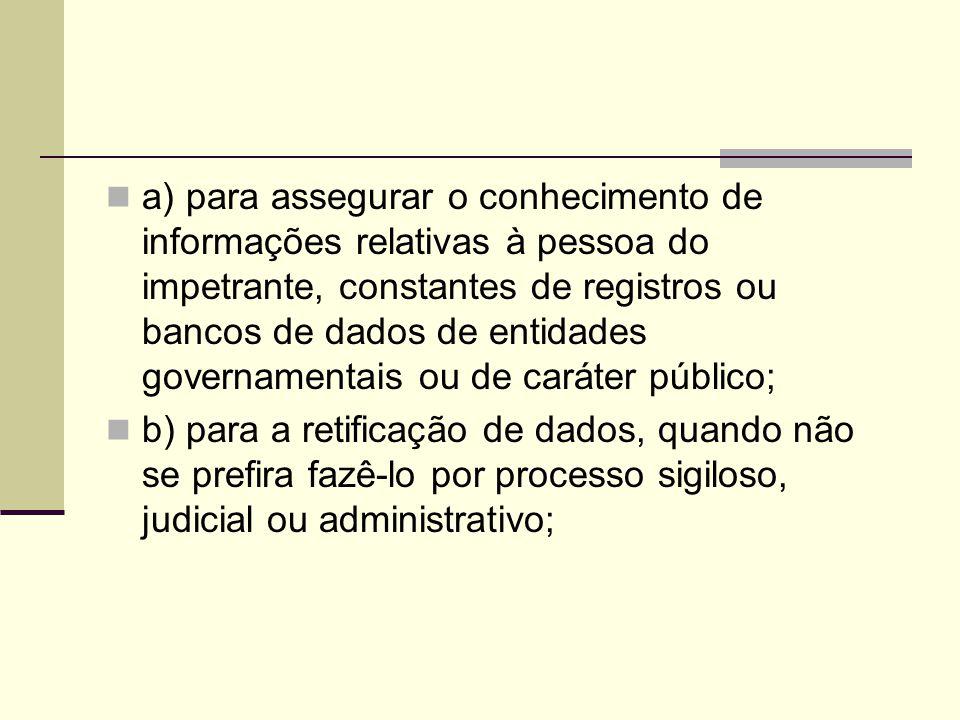 a) para assegurar o conhecimento de informações relativas à pessoa do impetrante, constantes de registros ou bancos de dados de entidades governamentais ou de caráter público;