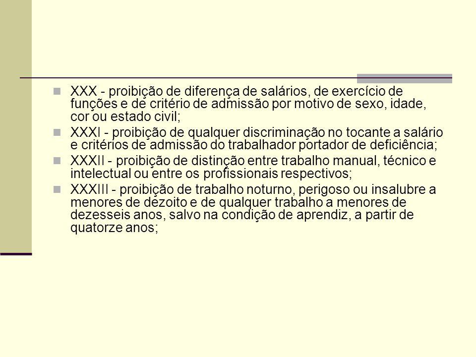 XXX - proibição de diferença de salários, de exercício de funções e de critério de admissão por motivo de sexo, idade, cor ou estado civil;