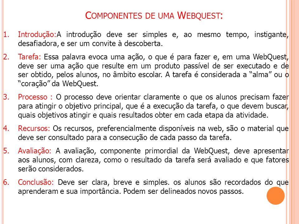 Componentes de uma Webquest: