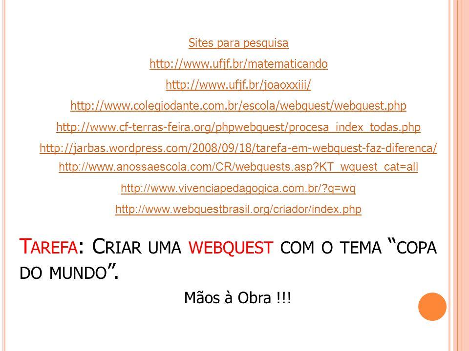 Tarefa: Criar uma webquest com o tema copa do mundo .