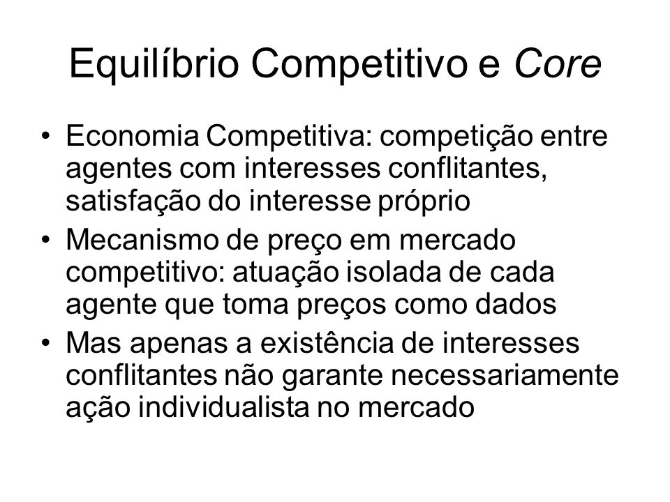 Equilíbrio Competitivo e Core