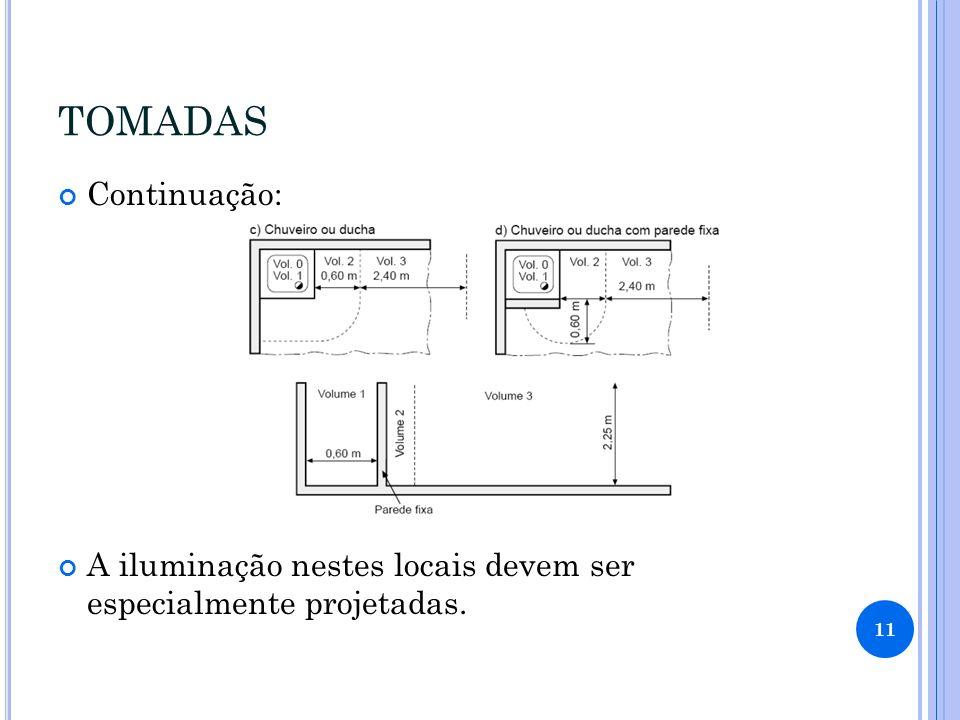 TOMADAS Continuação: A iluminação nestes locais devem ser especialmente projetadas.